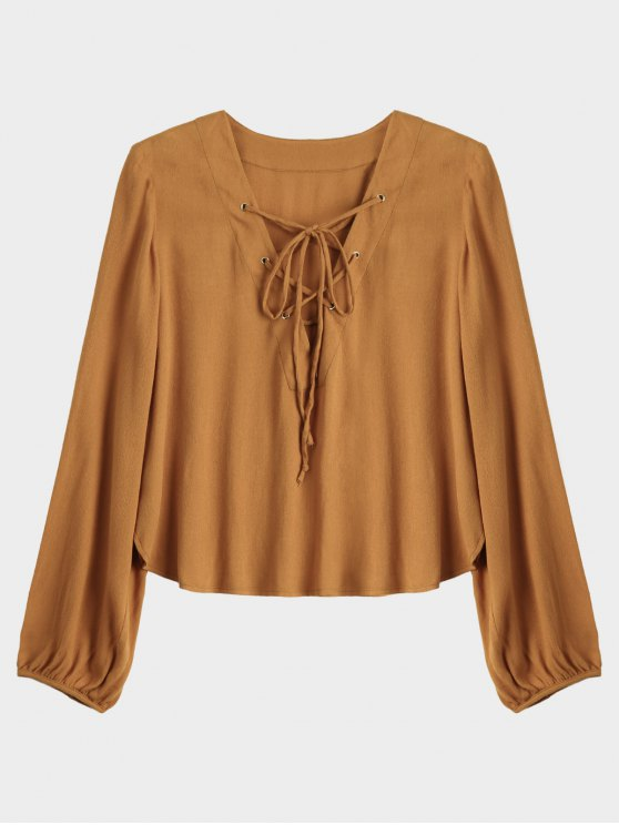 fashion Lace Up Plunging Neck Blouse - EARTHY S