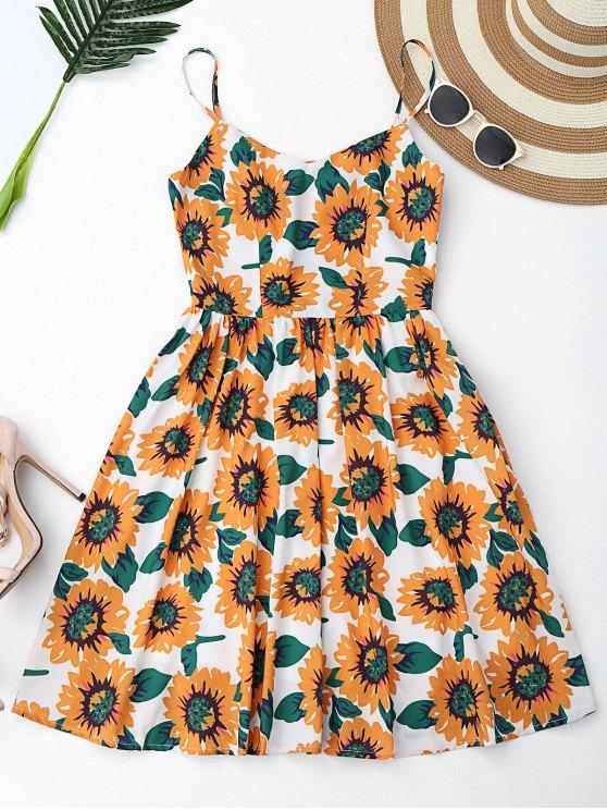 Floral ahueca hacia fuera el mini vestido cruzado de Criss - Blanco S