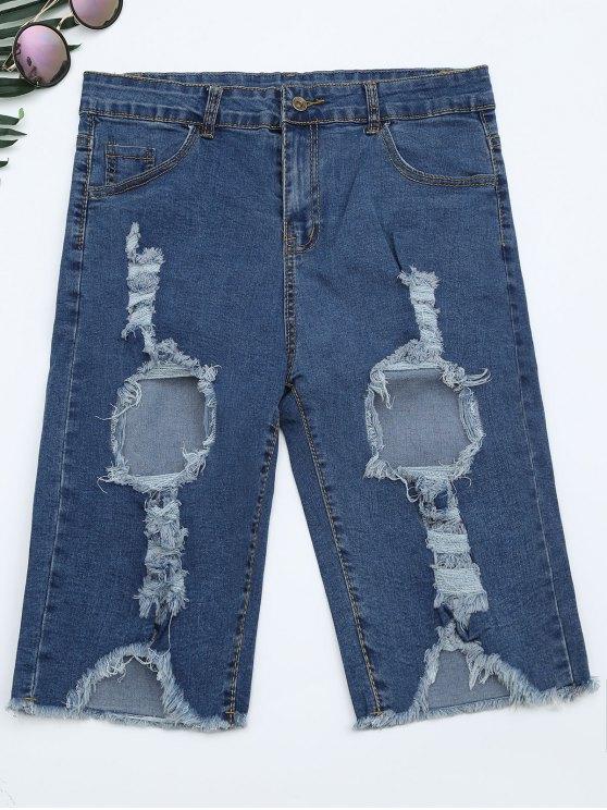 Ripped Cut Out Denim Shorts - Denim Blue L