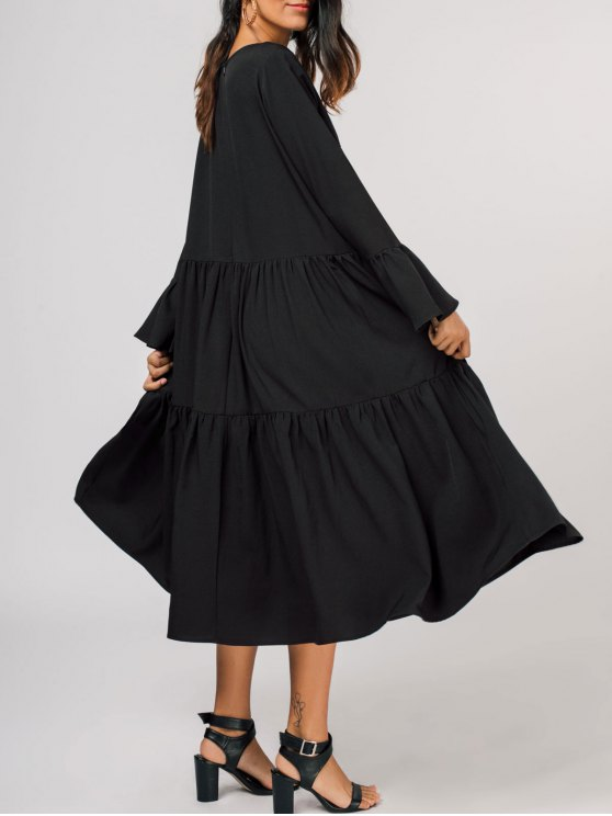 affordable Tiered Flare Sleeve Midi Dress - BLACK XL