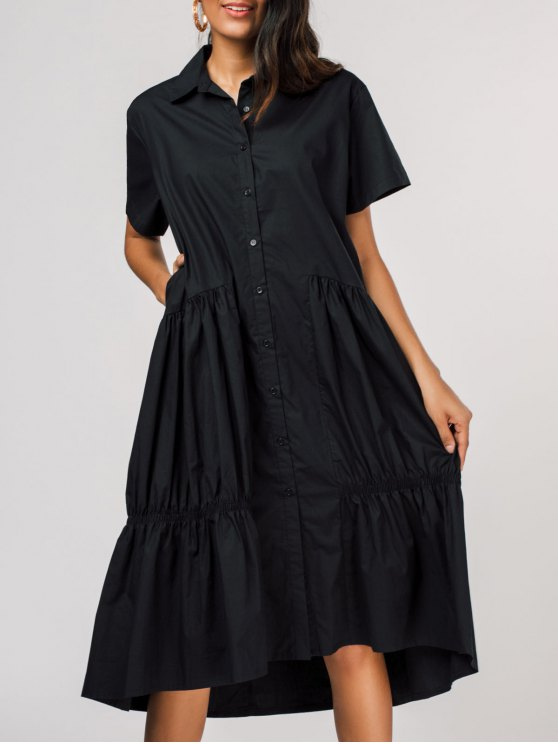 womens Pleated Single-breasted Shirt Dress - BLACK ONE SIZE