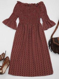 Smocked Floral Off Shoulder A-Line Dress - Wine Red S
