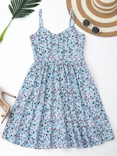 Floral Hollow Out Criss Cross Mini Dress - Light Blue S