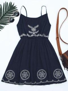 Patchwork Cami Mini Dress - Purplish Blue