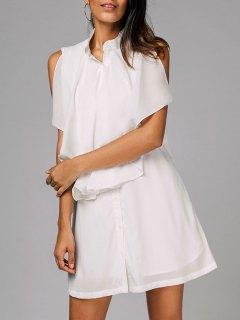 فستان بلا اكمام ذو طبقات زر شيرت - أبيض S