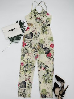 Leaves Print Criss Cross Cami Jumpsuit - Multi S