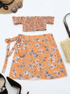Floral Print Crop Top And Skirt Set - Floral M