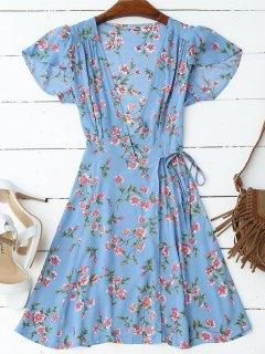 Cap Sleeve Wrap Graphic Mini Dress - Blue M