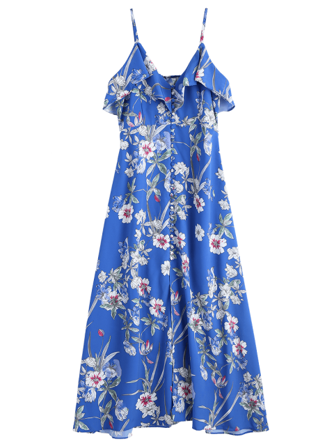 chic Button Up Floral Ruffles Maxi Dress - BLUE M Mobile