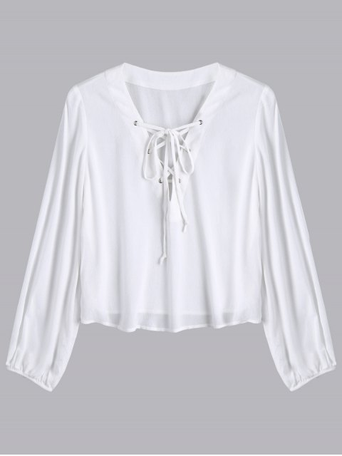 new Lace Up Plunging Neck Blouse - WHITE XL Mobile