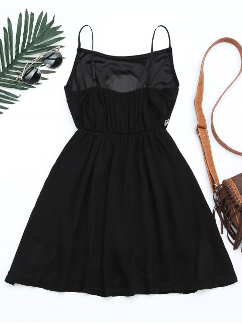 outfit Patchwork Cami Mini Dress - BLACK ONE SIZE Mobile