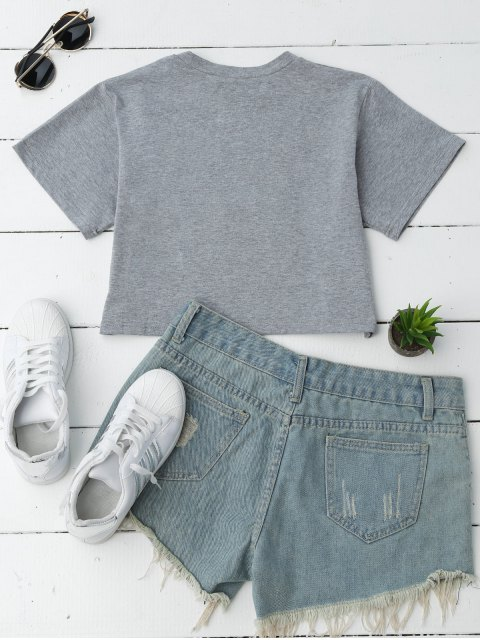 outfits Loose Letter Cropped T-Shirt - GRAY S Mobile