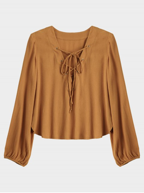 fashion Lace Up Plunging Neck Blouse - EARTHY S Mobile