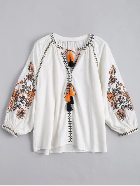 sale String Tassels Embroidered Blouse - WHITE M Mobile