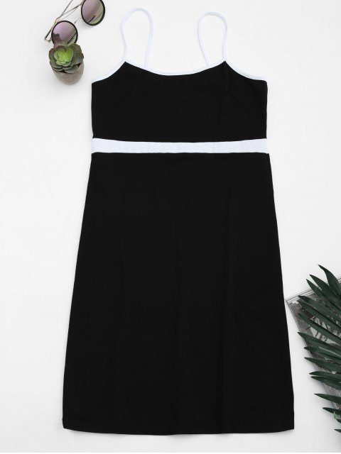 buy Two Tone Bodycon Slip Mini Dress - BLACK S Mobile