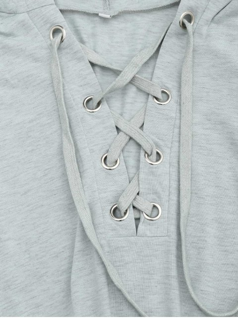 best Lace Up Drawstring Hooded Romper - LIGHT GRAY XL Mobile