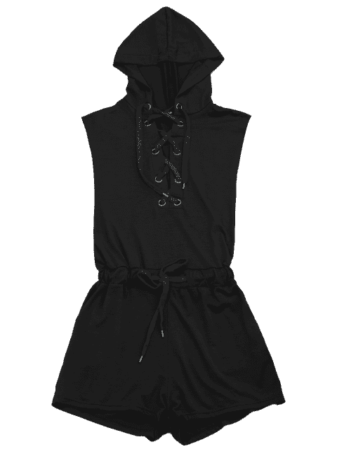 outfit Lace Up Drawstring Hooded Romper - BLACK S Mobile
