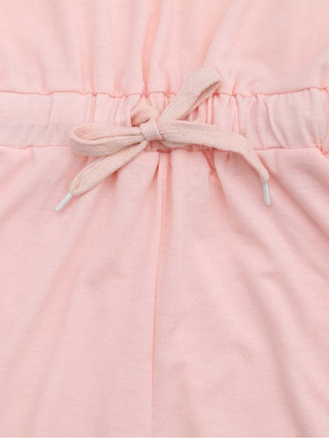 latest Lace Up Drawstring Hooded Romper - PINK S Mobile