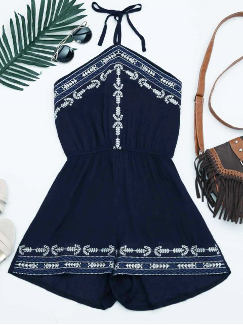 trendy Embroidery Patched Halter Romper - PURPLISH BLUE ONE SIZE Mobile
