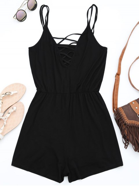 unique Strappy Criss Cross Cotton Romper - BLACK S Mobile