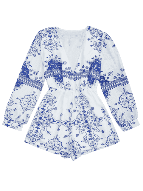 buy Plunge Printed Chiffon Romper - BLUE AND WHITE S Mobile