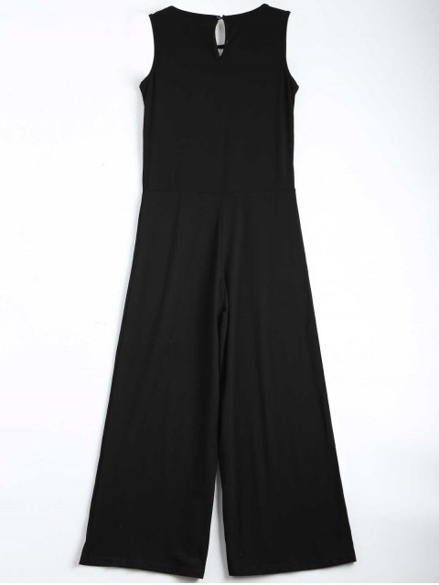 ladies Contrast Ripped Sleeveless Jumpsuit - BLACK XL Mobile