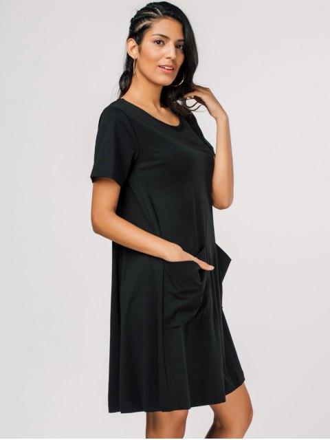 lady Pocket Scoop Neck Trapeze Tee Dress - BLACK XL Mobile