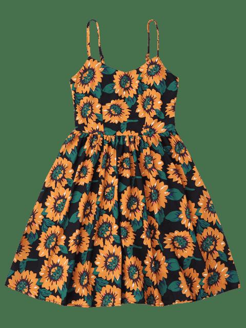 latest Floral Hollow Out Criss Cross Mini Dress - BLACK S Mobile