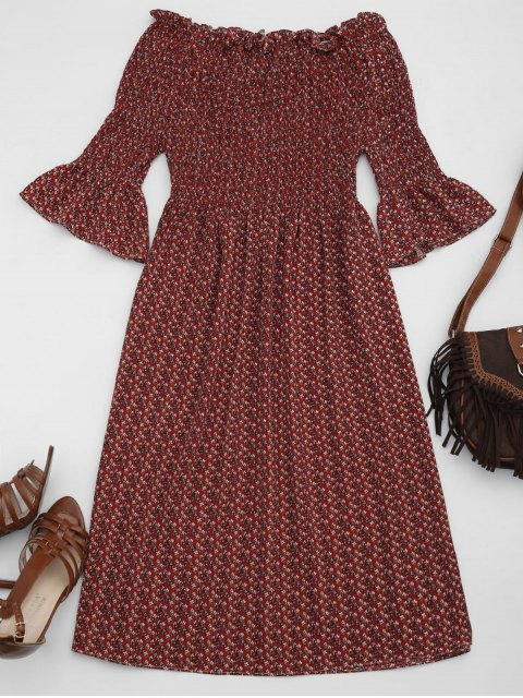 chic Smocked Floral Off Shoulder A-Line Dress - WINE RED S Mobile