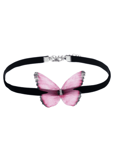 ladies Embellished Butterfly Choker Necklace - PINK  Mobile