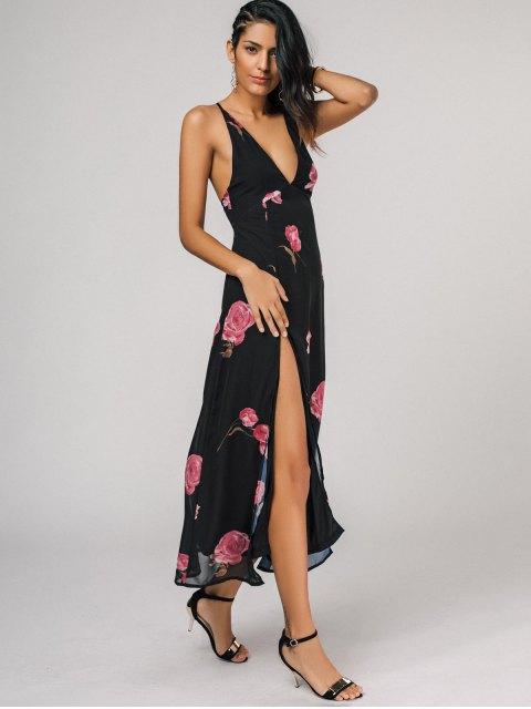 unique High Cut Plunging Neck Floral Maxi Dress - BLACK S Mobile