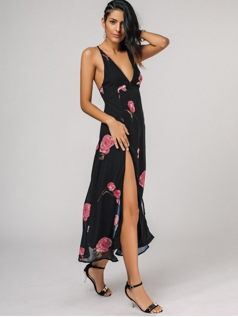 womens High Cut Plunging Neck Floral Maxi Dress - BLACK 2XL Mobile