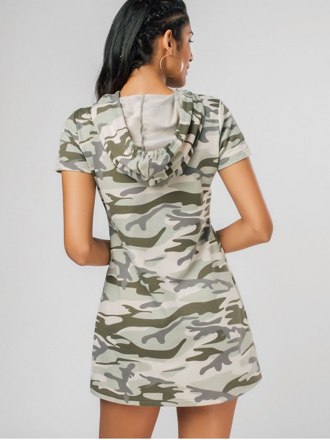 new Hooded Camouflage Casual Mini Dress - MULTICOLOR 2XL Mobile