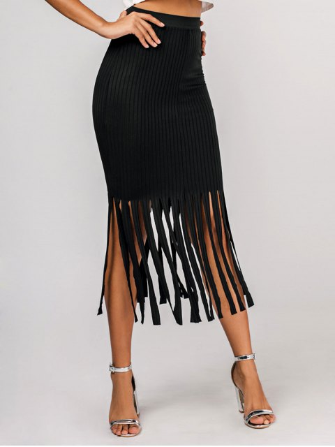 hot Fringed Casual Pencil Maxi Skirt - BLACK S Mobile