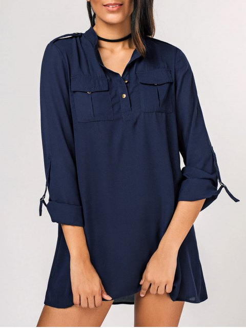 latest Casual Half Buttoned Shirt Dress - PURPLISH BLUE 2XL Mobile