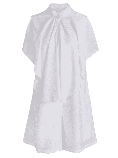 unique Sleeveless Layered Button Up Shirt Dress - WHITE 2XL Mobile