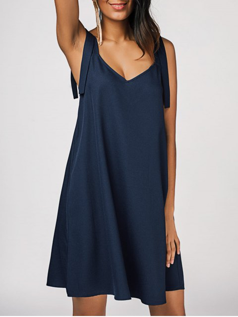 lady Chiffon Straps Swing Casual Dress - PURPLISH BLUE XL Mobile