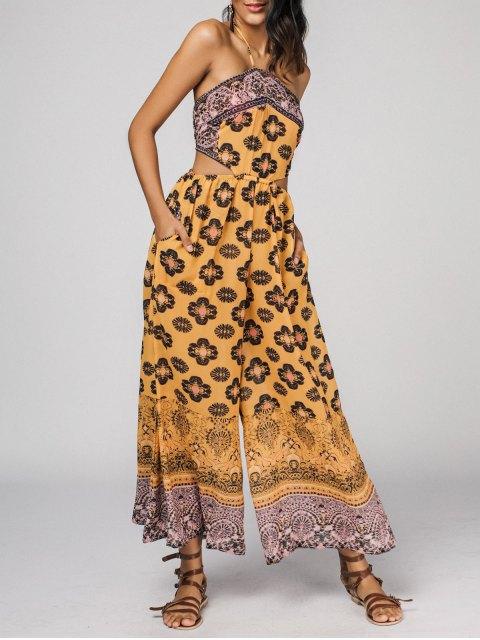 sale Halter Bohemian Printed Cut Out Wide Leg Jumpsuit - YELLOW L Mobile