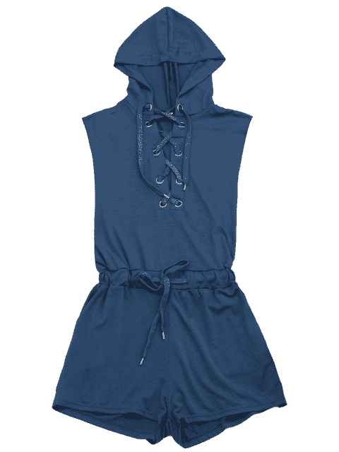 best Lace Up Drawstring Hooded Romper - CADETBLUE S Mobile