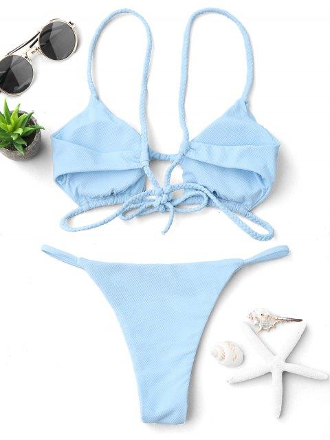 outfits Cutout Braided Bralette String Bikini Set - LIGHT BLUE S Mobile