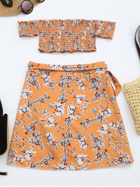 new Floral Print Crop Top and Skirt Set - FLORAL XL Mobile