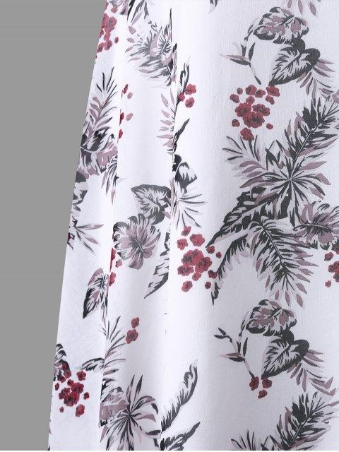 ladies Plus Size Tropical Leaf Asymmetrical Tunic Top - WHITE 5XL Mobile
