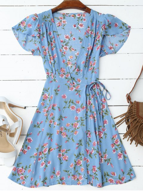 unique Cap Sleeve Wrap Graphic Mini Dress - BLUE S Mobile