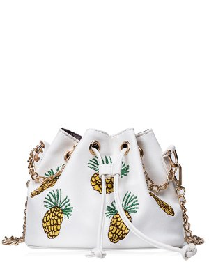 Pineapple Embroidered Chain Bucket Bag