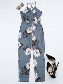 Floral Print Criss Cross Cami Jumpsuit - Floral S