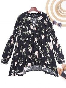 Keyhole Long Sleeve Floral Tunic Dress
