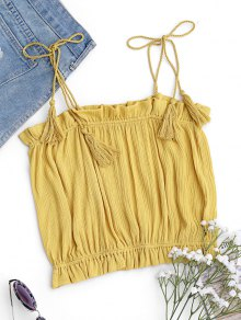 Cropped Ruffles Tassels Tank Top - Yellow S