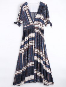 Button Up Tribal Print Maxi Dress