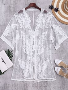 Butterfly Embroidered Sheer Kimono Cover Up - White