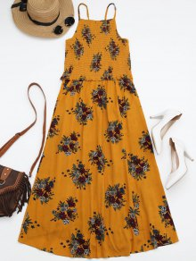 Floral A-Line Smocked Midi Dress - Yellow M